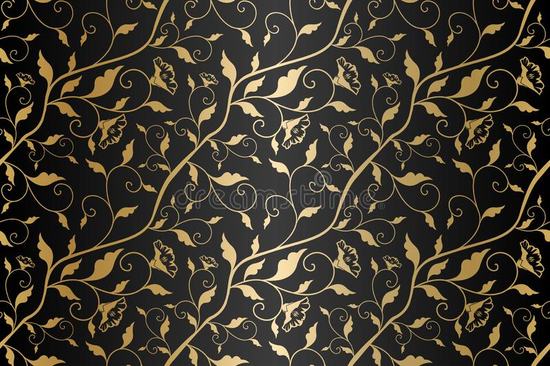 Seamless vector golden texture floral pattern. Luxury repeating damask black background. Premium wrapping paper or silk gold cloth stock illustration
