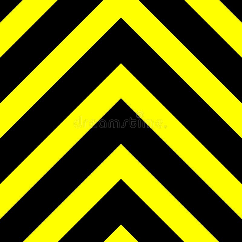 Seamless vector graphic of black upward pointing chevrons on a yellow background. This signifies danger or a hazard stock photo