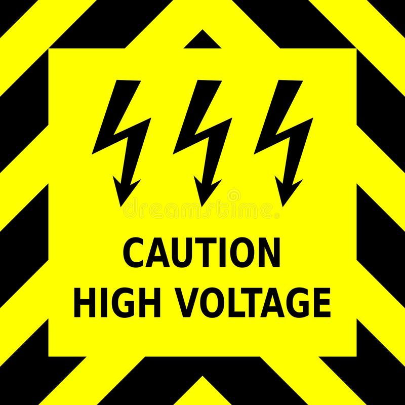 Seamless vector graphic of black upward pointing chevrons on a yellow background with the wording Caution High Voltage stock image