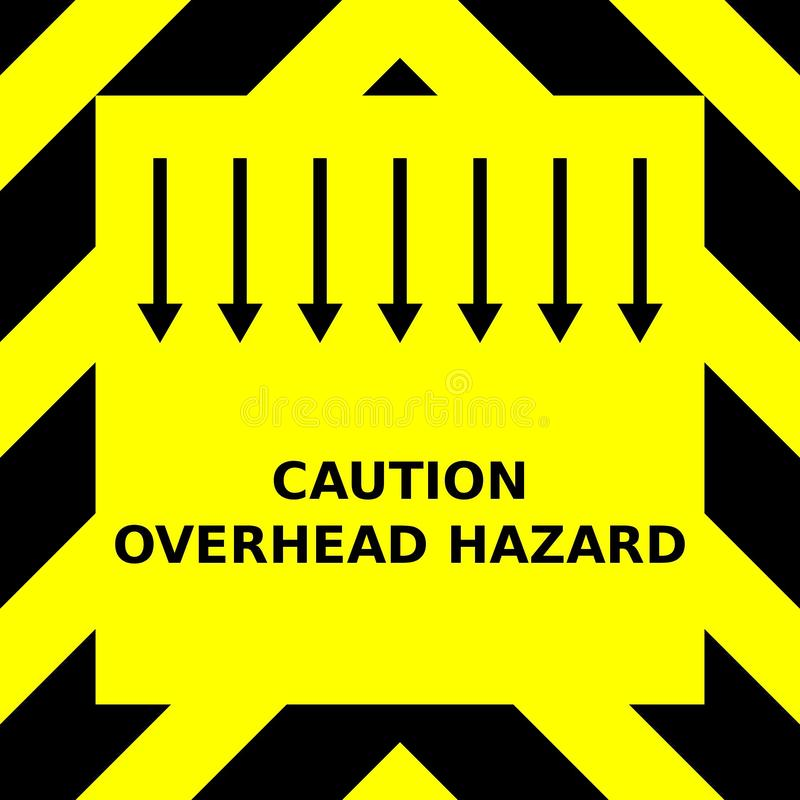 Seamless vector graphic of black upward pointing chevrons on a yellow background with the wording Caution Overhead Hazard stock photos