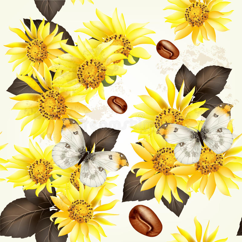Download Seamless Vector Grunge Wallpaper Pattern With Yellow Flowers Stock