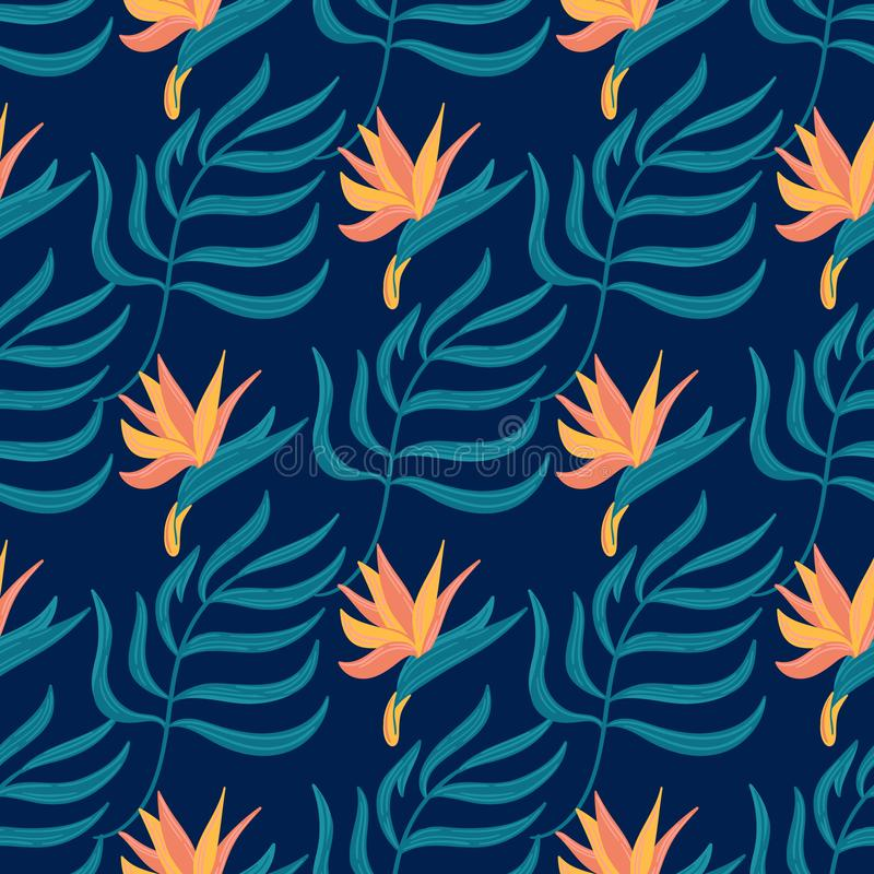 Seamless vector hand-drawn abstract pattern with tropical leaves and flowers in scandinavian style. The pattern is perfect for the design of fabric, bed linen vector illustration