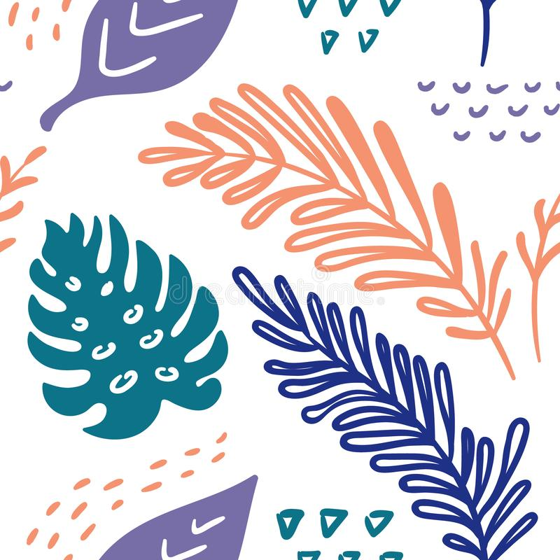 Seamless vector hand-drawn abstract pattern with tropical leaves in scandinavian style stock illustration