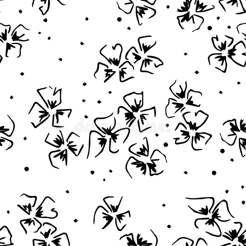 Seamless vector hand drawn floral pattern. background with flowers Decorative cute graphic line drawing illustration Print for wra vector illustration