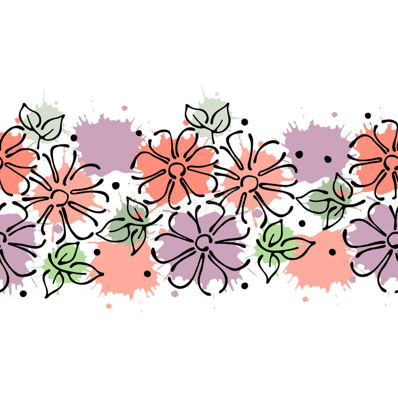 Cute Flower Line Drawing : Seamless vector hand drawn floral pattern endless border