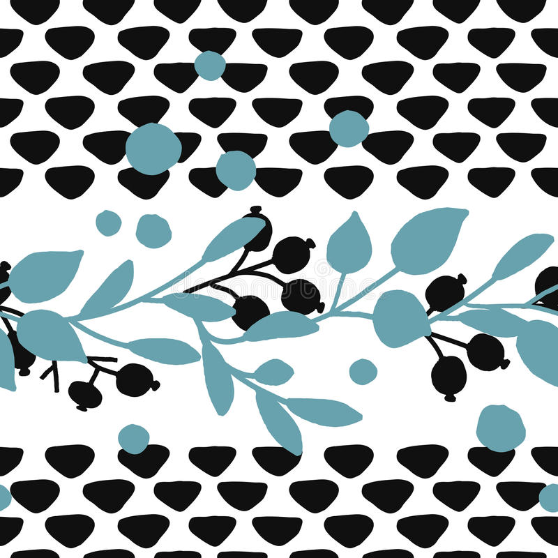 Seamless vector hand drawn leaf and berry pattern design. Seamless vector hand drawn leag and berry pattern design in black and blue colors royalty free illustration