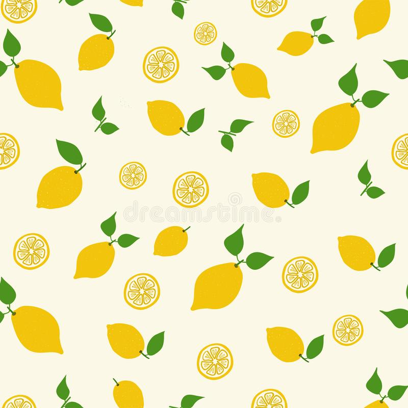 Seamless vector hand drawn pattern with lemon, lemon slice and leaves. stock photography
