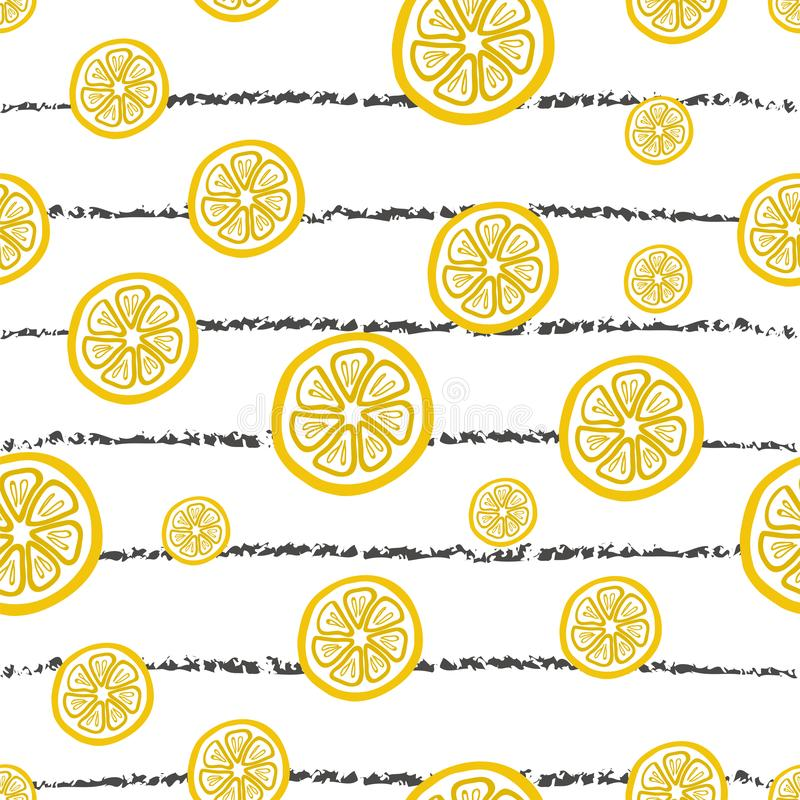 Seamless vector hand drawn pattern with lemon slices on the horizontal striped background. royalty free stock photos