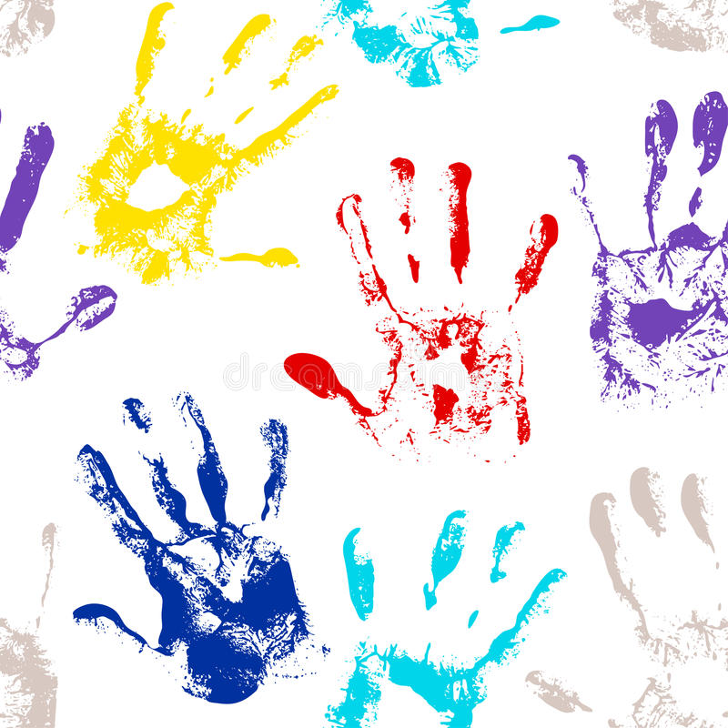 Seamless vector hand print colorful background. vector illustration