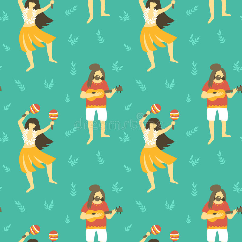 Seamless vector hawaii pattern. Summer background with dancing girls and men playing ukulele. royalty free illustration