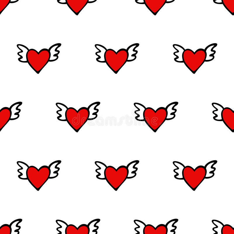 Seamless vector heart pattern for Valentines Day. Cute hearts with wings. vector illustration