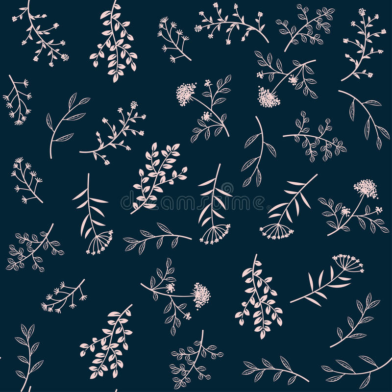 Seamless vector herbal pattern. Doodle flowers ornament in retro style vector illustration
