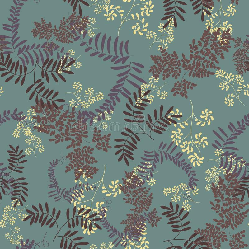 Seamless vector herbarium pattern with leaves silhouettes on a teal background. A seamless vector herbarium pattern with leaves silhouettes on a teal background vector illustration