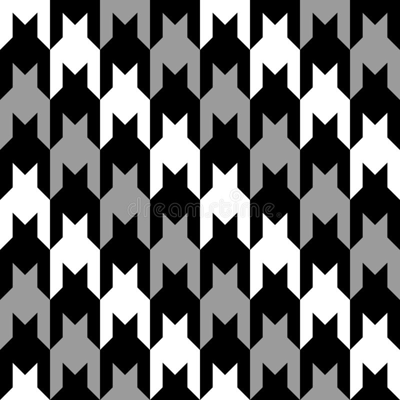 Diagonal Hounds Tooth in Grey, Black and White royalty free illustration