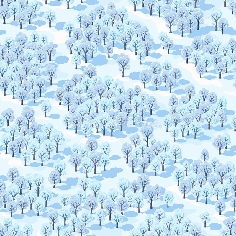 Seamless vector illustration, winter forest landscape with trees covered with hoarfrost. stock photos