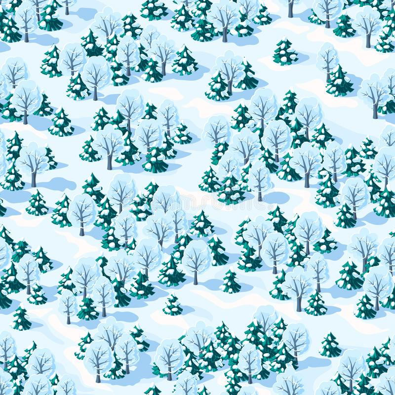 Seamless vector landscape of winter mixed forest with coniferous and deciduous trees stock image