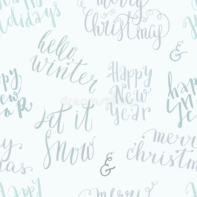 Seamless vector lettering pattern. New year and merry christmas vector seamless lettering pattern, handwritten quotes and words background vector illustration