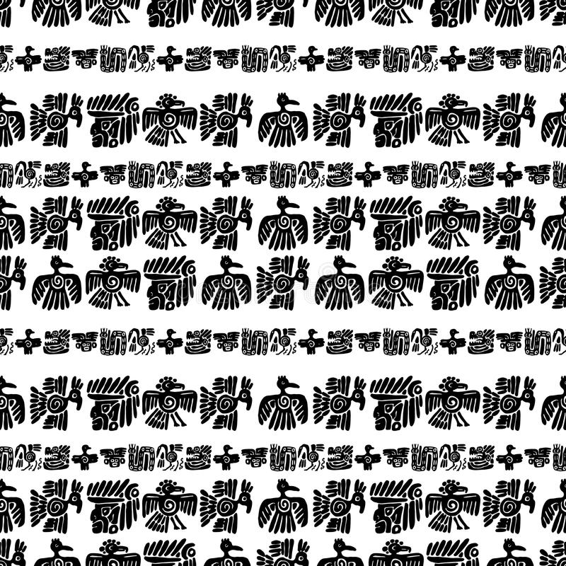 Seamless vector maya pattern. Black and white ethnic elements. Tribal doodles ornament. Abstract ancient symbols birds stock illustration