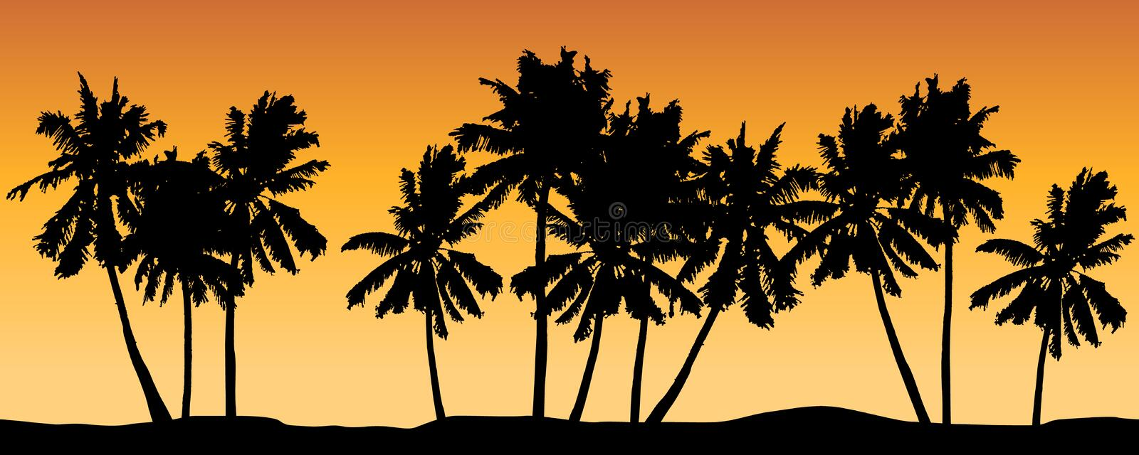 Seamless vector with palm trees and orange shaded background. royalty free illustration