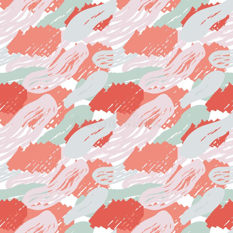 Seamless vector pattern, abstract composition with creative artistic naive style, various lines, colorful elements and shapes for. Your design, presentation stock illustration