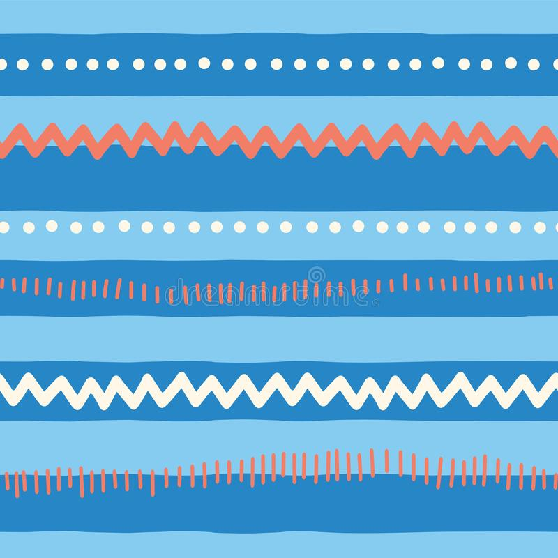 Free Seamless Vector Pattern Abstract Horizontal Lines, Zigzag, Dots, Stripes. Red And Blue Tribal Doodle Background. Texture For Stock Image - 133623351