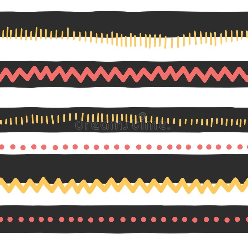 Seamless vector pattern abstract horizontal lines, zigzag, dots, stripes. Red and yellow doodles on black and white background. royalty free illustration