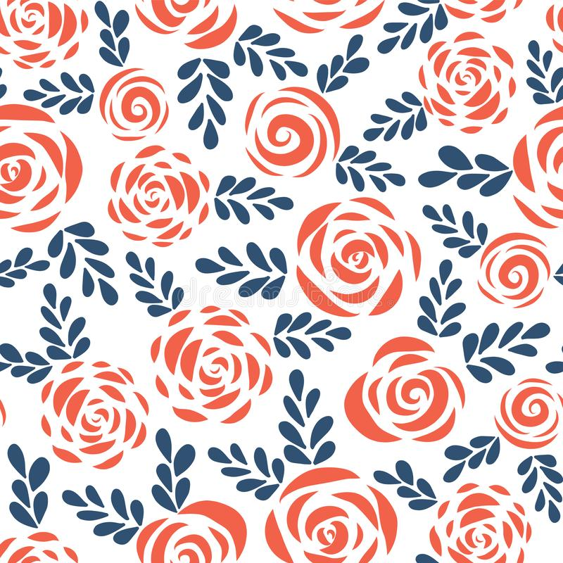 Seamless vector pattern abstract Scandinavian style flat roses and leaves red blue white background. Floral silhouettes. Flower royalty free illustration