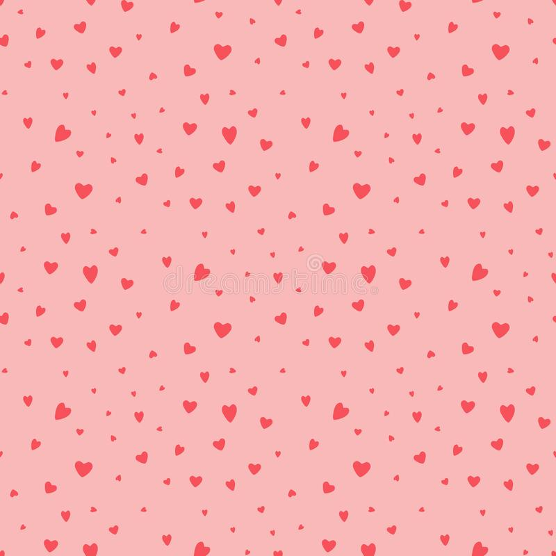 Seamless vector pattern with adorable cute little hearts stock illustration