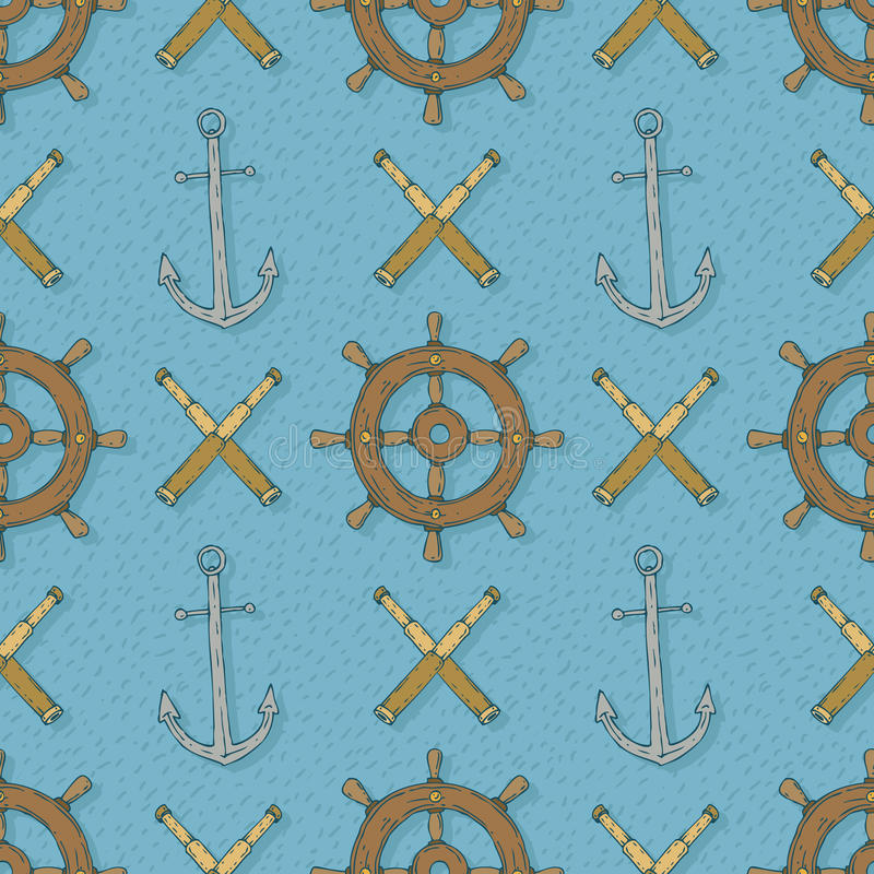 Seamless Vector Pattern with Anchors,Retro Ship Steering Wheels and Spyglasses royalty free illustration