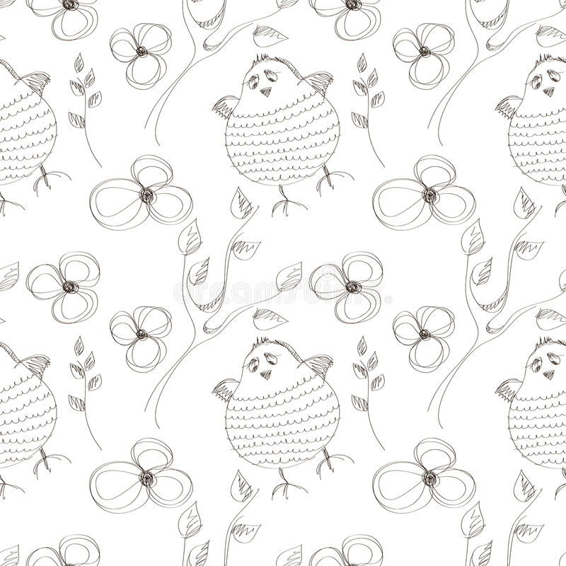 Seamless vector pattern with animals. Cute hand drawn background with birds and flowers on the white backdrop stock illustration