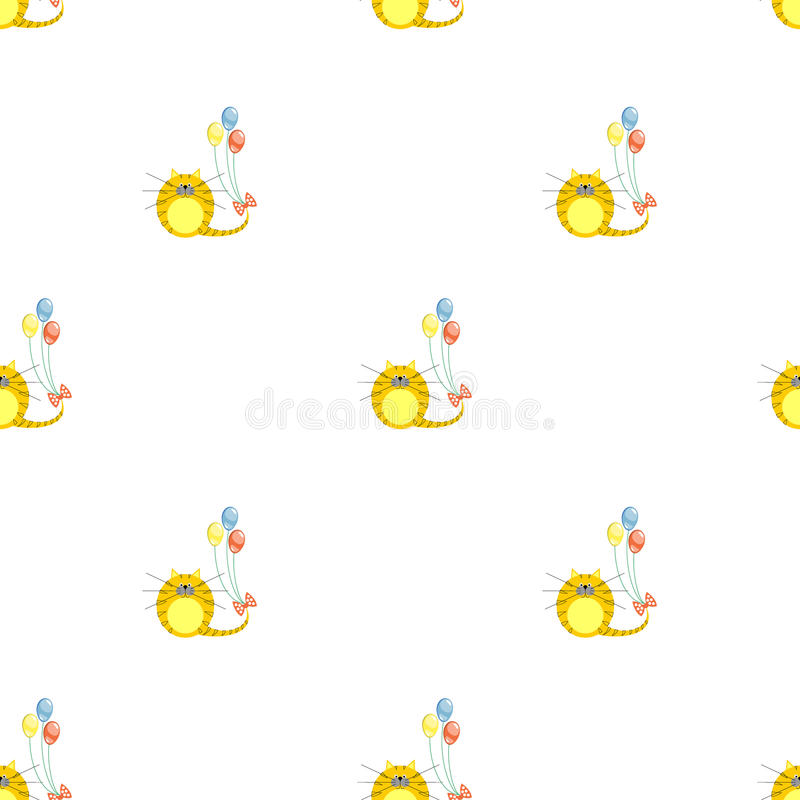 Seamless vector pattern with animals. Cute symmetrical background with red cats and colorful balloons on the white backdrop royalty free illustration