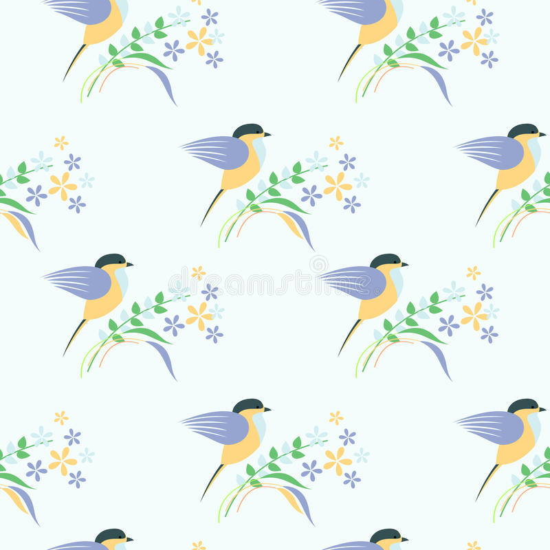 Seamless vector pattern with animals. Symmetrical background with colorful birds, leaves and flowers on the light backdrop royalty free illustration