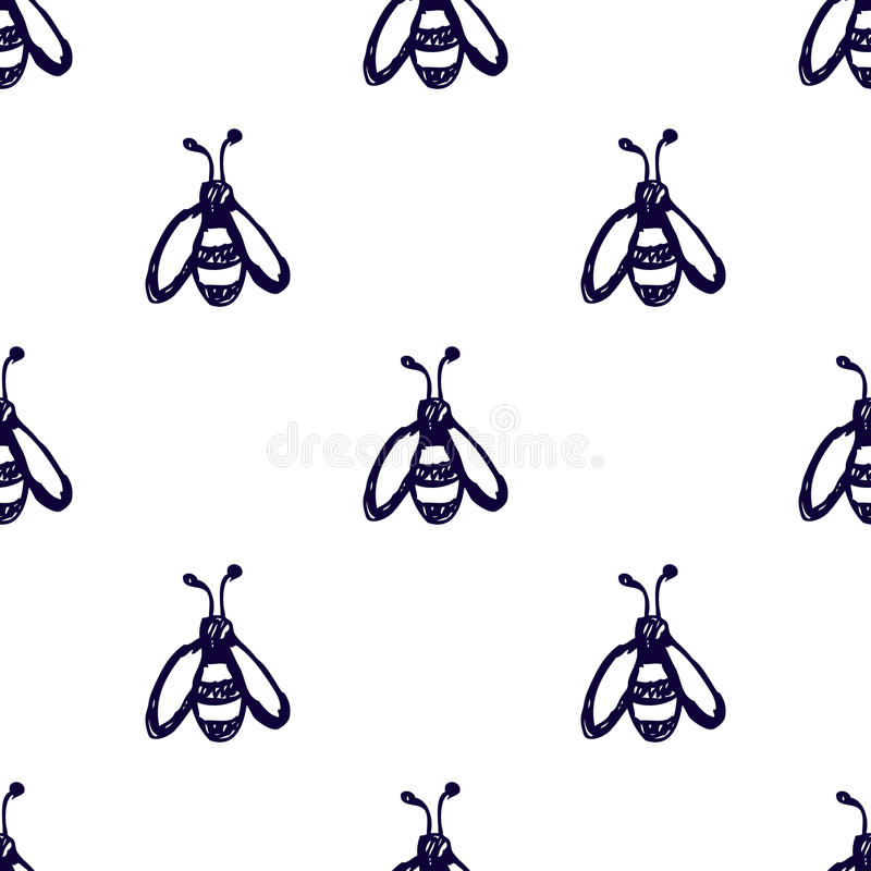 Seamless vector pattern, background with cute wasps on the white backdrop. Hand sketch drawing. Imitation of ink pencilling. Series of Insects and Hand Drawn royalty free illustration