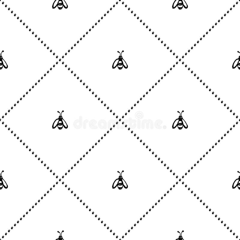 Seamless vector pattern, background with cute wasps on the white backdrop. Hand sketch drawing. Imitation of ink pencilling. Series of Insects and Hand Drawn stock illustration