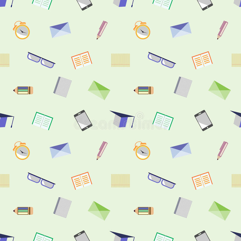 Seamless vector pattern, background with glasses, academic caps, letters, pens, pencils, notebooks and alarm clocks on the light b. Ackground royalty free illustration