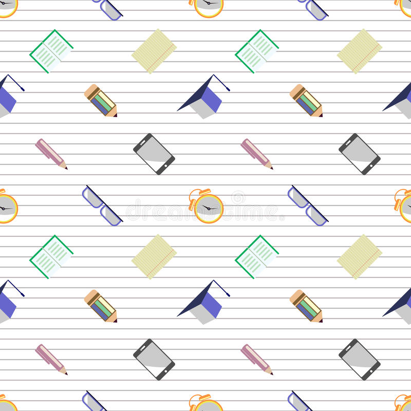 Seamless vector pattern, background with glasses, academic caps, letters, pens, pencils, notebooks and alarm clocks on the lined w. Hite background vector illustration