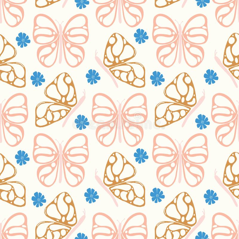 Seamless vector pattern with hand-drawn butterflies and flowers in pink, gold and blue vector illustration