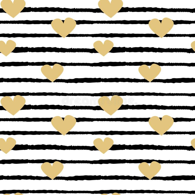 Seamless vector pattern background illustration with hand drawn gold hearts on black and white stripes vector illustration