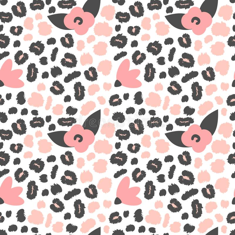 Cute seamless vector pattern background illustration with pink and black animal print with leopard dots and flowers. Seamless vector pattern background vector illustration