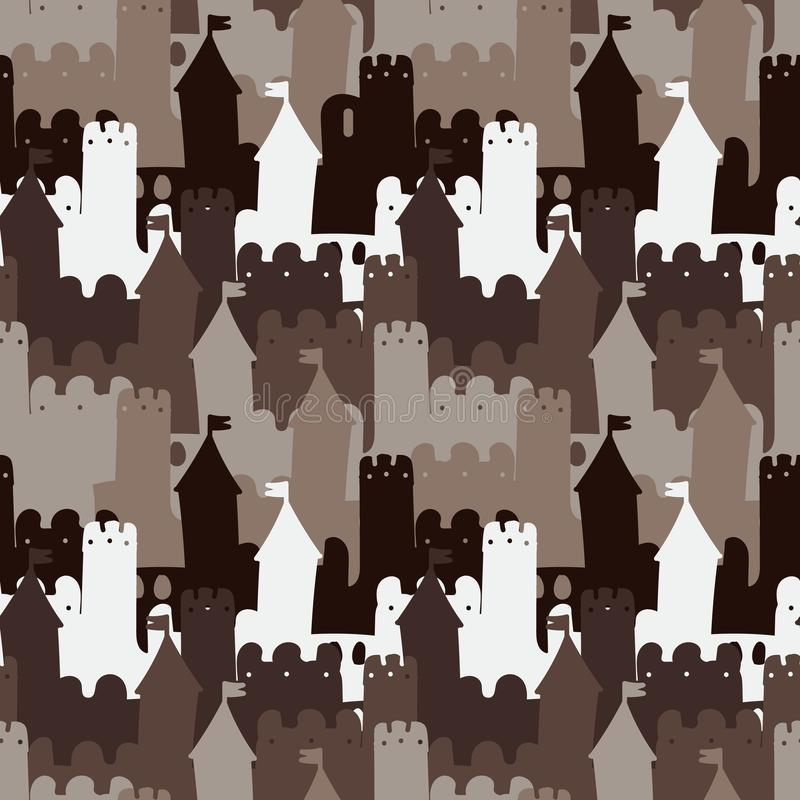 Seamless vector pattern background with medieval stone castle in brown colors stock illustration
