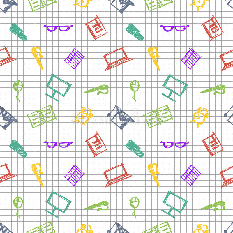 Seamless vector pattern, background notebooks, pens, pencils, glasses and books on the checkered paper. Hand sketch drawing. Imitation of ink pencilling royalty free illustration