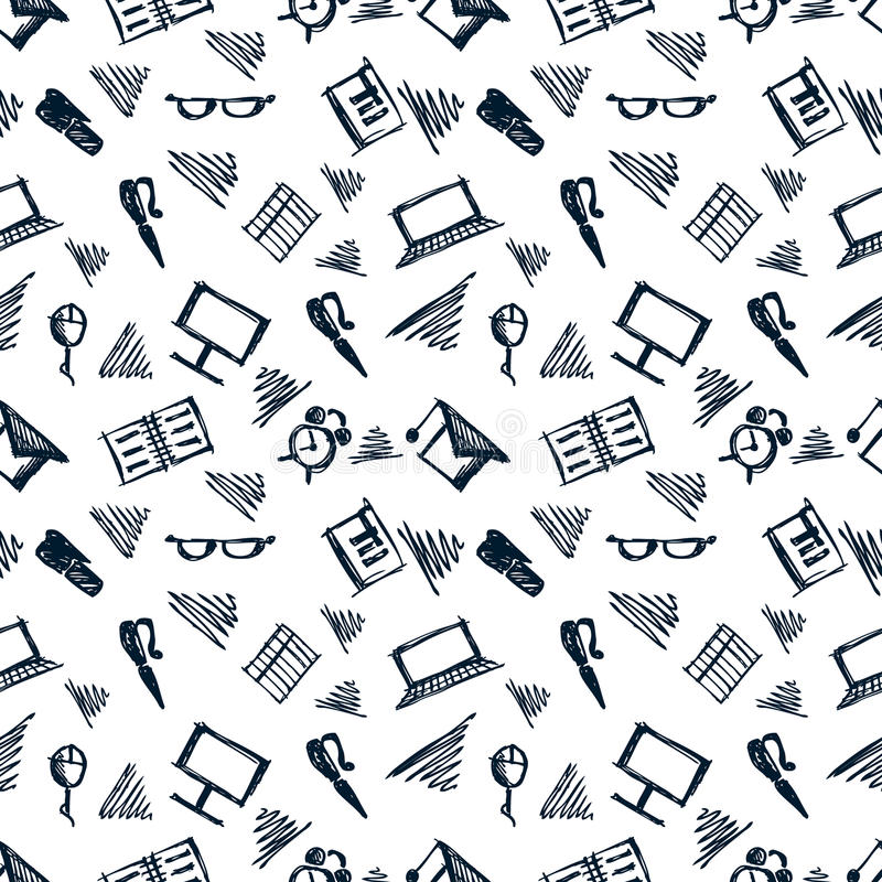 Seamless vector pattern, background notebooks, pens, pencils, glasses and books on the white backdrop. Hand sketch drawing. Imitation of ink pencilling. Series stock illustration