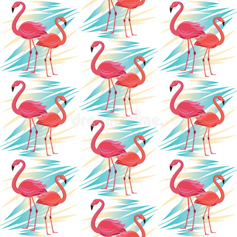 Seamless vector pattern, banner with flamingo, tropical leaves exotic flower design vector illustration