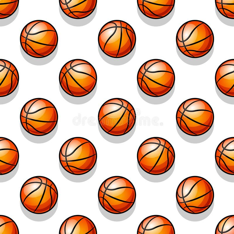 Seamless Vector Pattern With Basketball Balls Stock Illustration