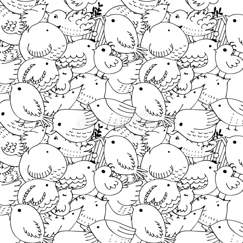 Seamless vector pattern of birds.Collection of cute hand drawn bird Doodle. Black on white vector set. Easter design. Coloring. Seamless vector pattern of birds vector illustration