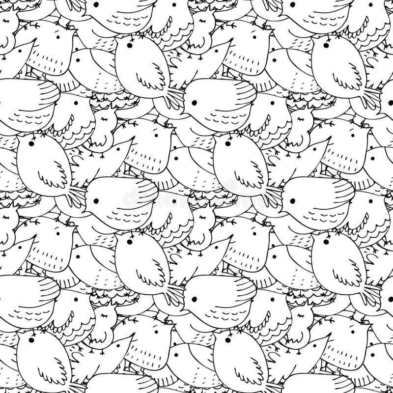 Seamless vector pattern of birds.Collection of cute hand drawn bird Doodle. Black on white vector set. Easter design. Coloring. Seamless vector pattern of birds stock illustration