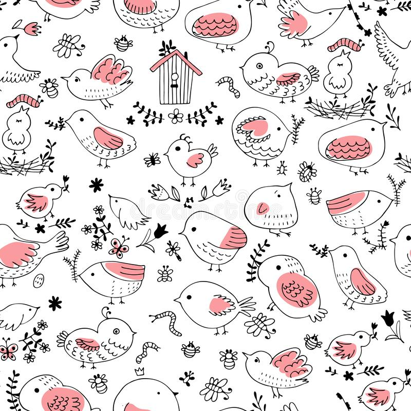 Seamless vector pattern of birds.Collection of cute hand drawn bird Doodle. Black on white vector set. Easter design.  royalty free illustration