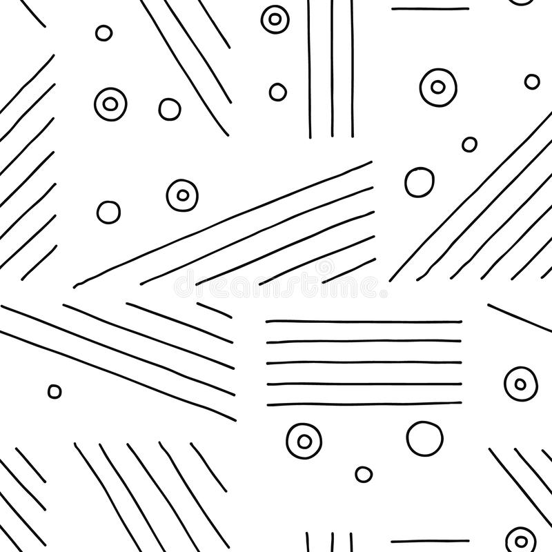 Free Seamless Vector Pattern. Black And White Geometrical Hand Drawn Background With Lines, Dots. Print For Decorative Wallpaper, Packa Royalty Free Stock Photo - 133568975