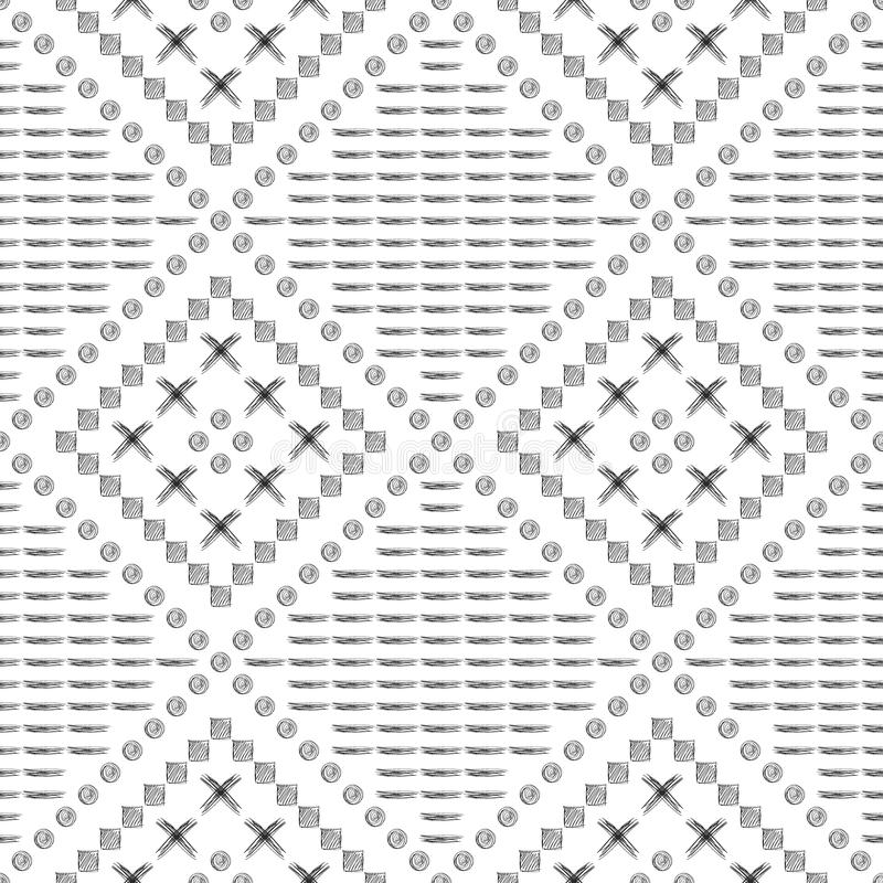 Seamless vector pattern. Black and white geometrical background with hand drawn circles, cross and lines. Simple design. Series of Hand Drawn Simple stock illustration
