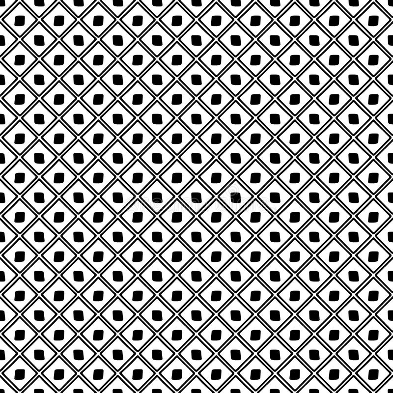 Seamless vector pattern. Black and white geometrical background with hand drawn decorative elements. Print with simple geometric m vector illustration